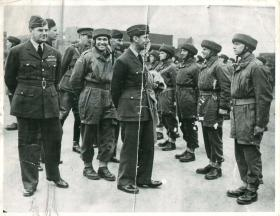 Brigadier Gale, King George VI and Major Dobie inspect troops at Ringway.