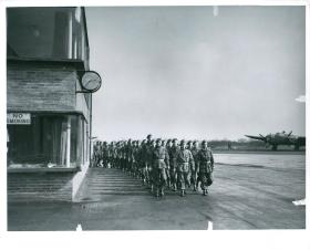 A later parachute course parade at Ringway. Notice the Wellington aircraft on the right.