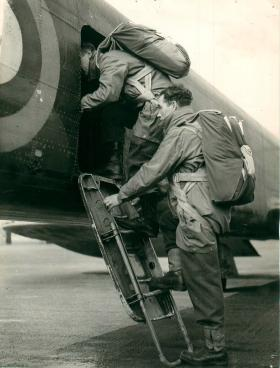 Paratroopers board a Whitley Bomber prior to a training exercise, 1940.