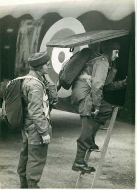 Paratroopers emplaning for a training exercise.