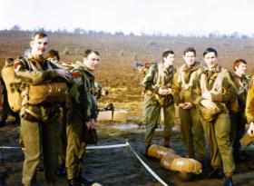 Members of 1 Para Provost Platoon waiting to jump at Hankley Common, 1970s.