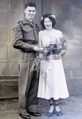 Walter and Mary Gledhill on their wedding day, 1 March 1949.