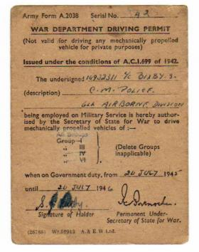 War Dept driving permit for L/Cpl Bixby.