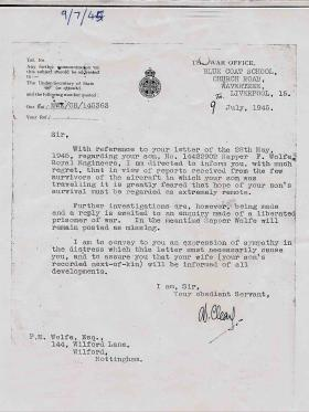 War Office letter to the father of Spr Wolfe, 9 July 1945.