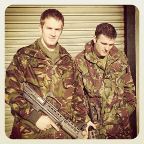 Spr Daniel Watson with colleague on Herrick deployment training.