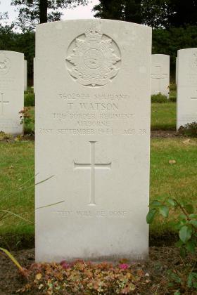 Headstone of Sgt Thomas Watson, Arnhem Oosterbeek War Cemetery, 2009.