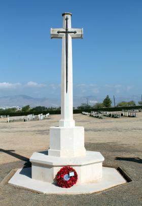 Cross of Sacrifice, CWGC Nicosia (Waynes Keep) Military Cemetery, Cyprus, November 2016.