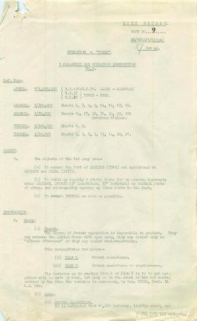 1st Parachute Brigade Operation Instruction No. 1.