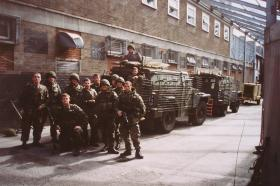 Members of 12 PL D COY, 2 PARA, with a Humber Pig, West Belfast, 1992.