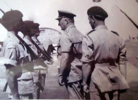 Inspection of 2 PARA Guard of Honour, Camp Nicosia, c1951.