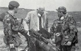 Brig (Ret'd) Vic Coxen DSO MC talks to members of Anti-Tank Platoon, 4 PARA, 1980.