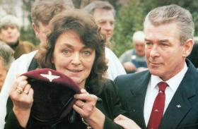 Mrs MacAulay speaks to the press after her son's funeral, 24 September 1989.