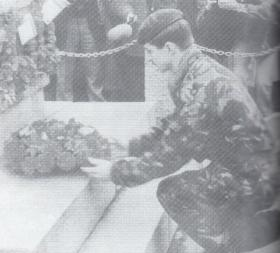 L/Cpl Andrews, 3 PARA, lays a wreath at Rathfriland for L/Cpl Wilson & Ptes MacAulay and Marshall, 30 Nov 1989.