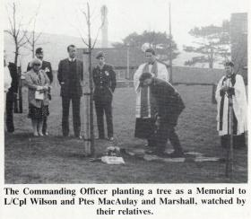 Lt Col HM Fletcher planting a memorial tree for L/CPl Wilson and Ptes MacAulay and Marshall, 30 November 1989.