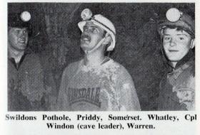 Cpl Windon, leading a potholing team,Junior Para Coy, Priddy, Somerset 1980.
