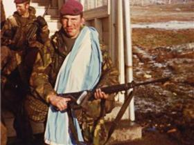Pte Paul 'Beast' Fuller in Port Stanley, 1982.