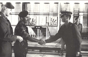 Presentation of Parachute Wings to Pte Jeff Schur, 1964