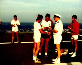 Winners' presentation, Sports Day, MV Norland, 1982