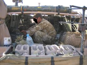 View into the rear of a WMIK, Afghanistan, Op Herrick IV, 2006.