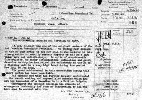 Citation for the award of The Most Excellent Order of the British Empire (OBE) for Lt Col Nicklin. February 1945.