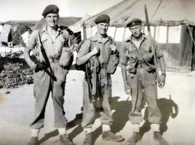 Gunner Douglas (Jock) Wood, Bombardier Carl Olsen, Gunner Johnny Harris, Amman Airfield, 1958.