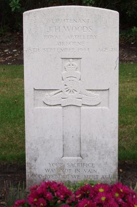 Headstone of Lt Woods, Arnhem Oosterbeek War Cemetery, 2009.