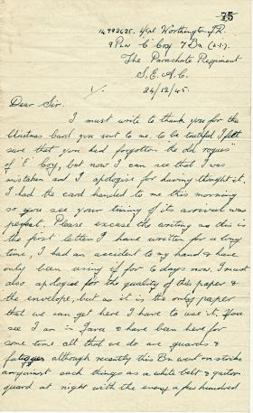 Letter from L Cpl Worthington describing hostilities in Java, Indonesia, December 1945