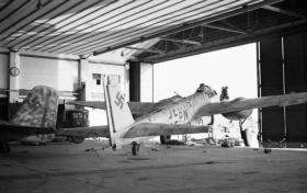 A captured Junkers Ju 88G aircraft in a hangar at Wunstorf airfield, April 1945