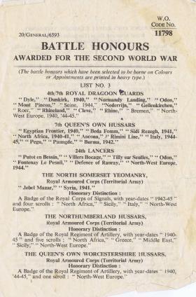 Battle Honours awarded for the Second World War, 31 December 1956.