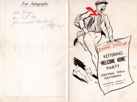 'Welcome Home' party menu, Kettering , 1945