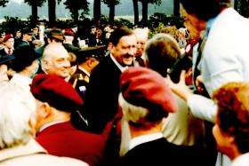 Major General 'Johnny' Frost and veterans, 40th Anniversary of Arnhem, 1984