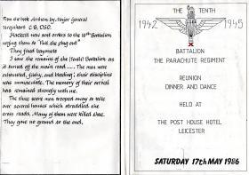 The 10th Parachute Battalion Reunion menu card, 1986.