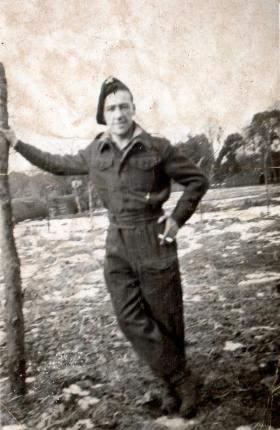Pte Wyke guarding German POW, in charge of cook house 2, Brockley Chepstow, 1945