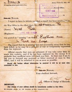 Missing in Action letter for Pte Wyke, Sept 1944
