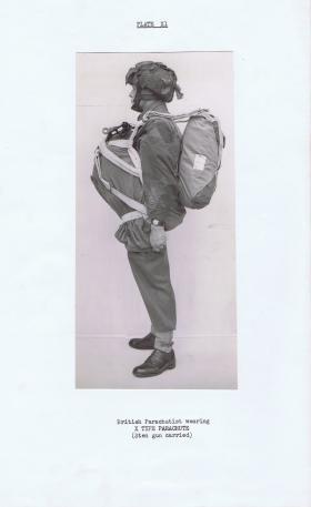 Parachutist wearing X Type parachute, c1944.