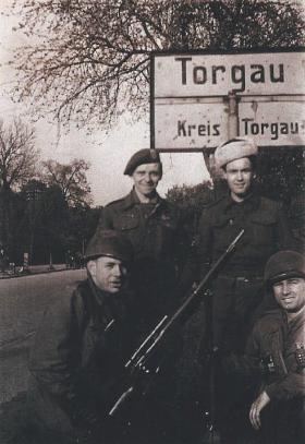 Sgt Jack Griffiths at Torgau with other escaped POWs, c1945.