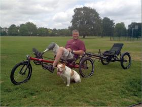 Yanto Evans with his tandem recumbant bike, raising funds for The Para Charity, August 2013.