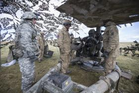 British and American artillery train together, 20 March 2015.
