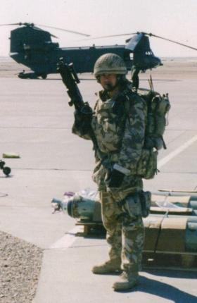 Mark Magreehan at Basrah APOD, Iraq, December 2003