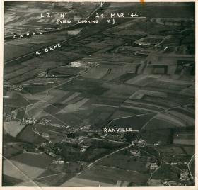 Aerial photo showing Ranville and landing zone N.