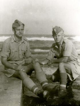 L/Cpl Galasiak, on right, with a comrade in Tel Aviv, 1942.