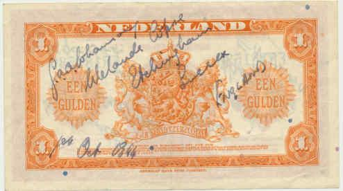 OS Dutch bank note signed by L/Cpl. GAA Johanson. 1 October 1944.