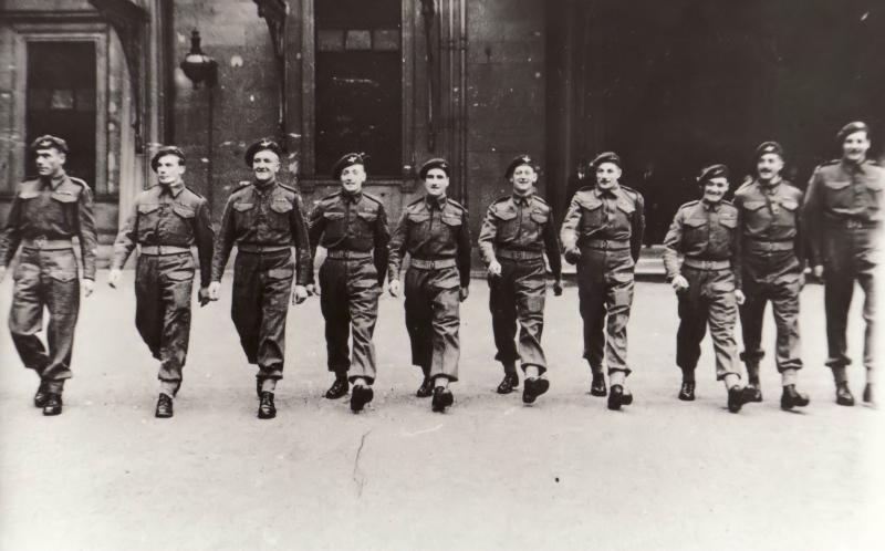 10 members of 1 Para after receiving MMs at Buckingham Palace, 28 March 1944