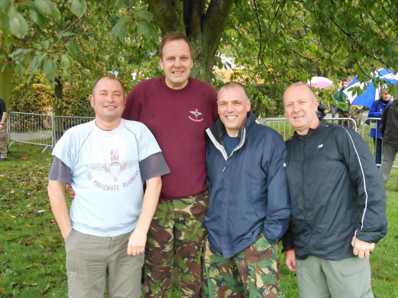 colchester paras10 21/10/12. Ex 3 Coy 10 Para. Andy Gardiner,self,Russell Paul and Roy Smith. At the start. All completed tab.