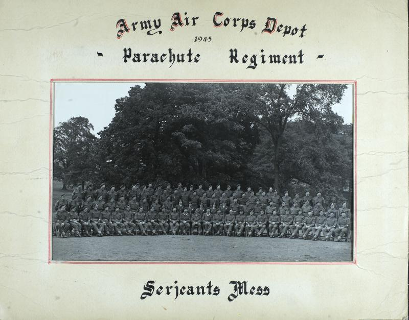 Group Photograph of Airborne Forces Depot, WO's and Sergeant's Mess, 1945