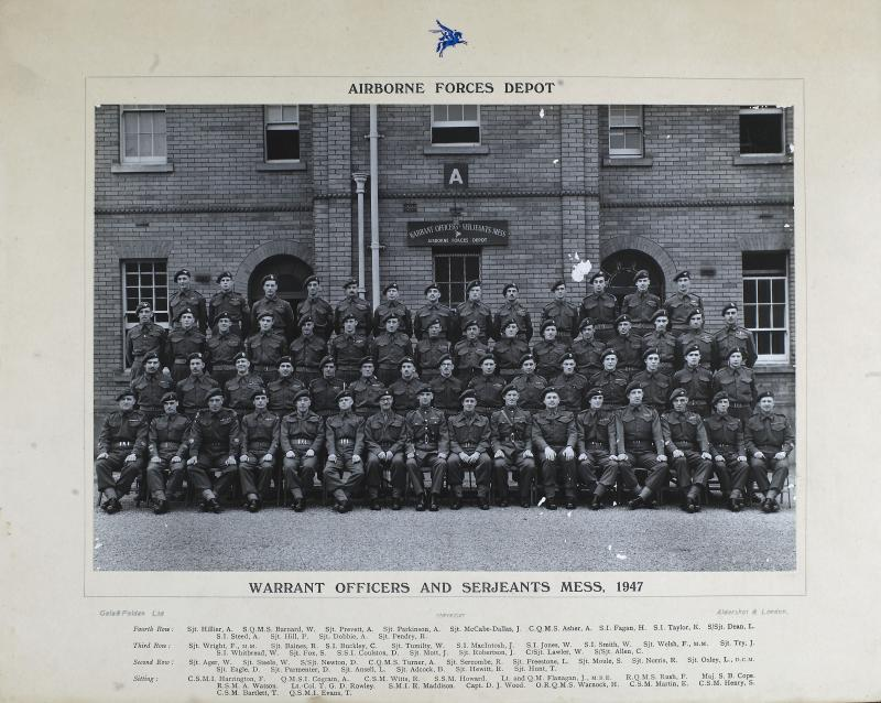 Group Photograph of the WO's and Sergeant's Mess, the Parachute Regiment and Airborne Forces Depot, 1947