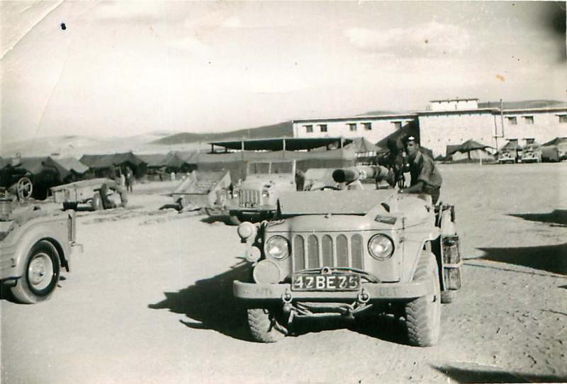 2 PARA Anti-Tank Platoon vehicle with 106mm rifle in towing position, Jordan 1958