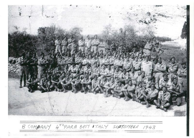 B Company 4th Parachute Battalion in a group shot in Italy during Operation Hasty.
