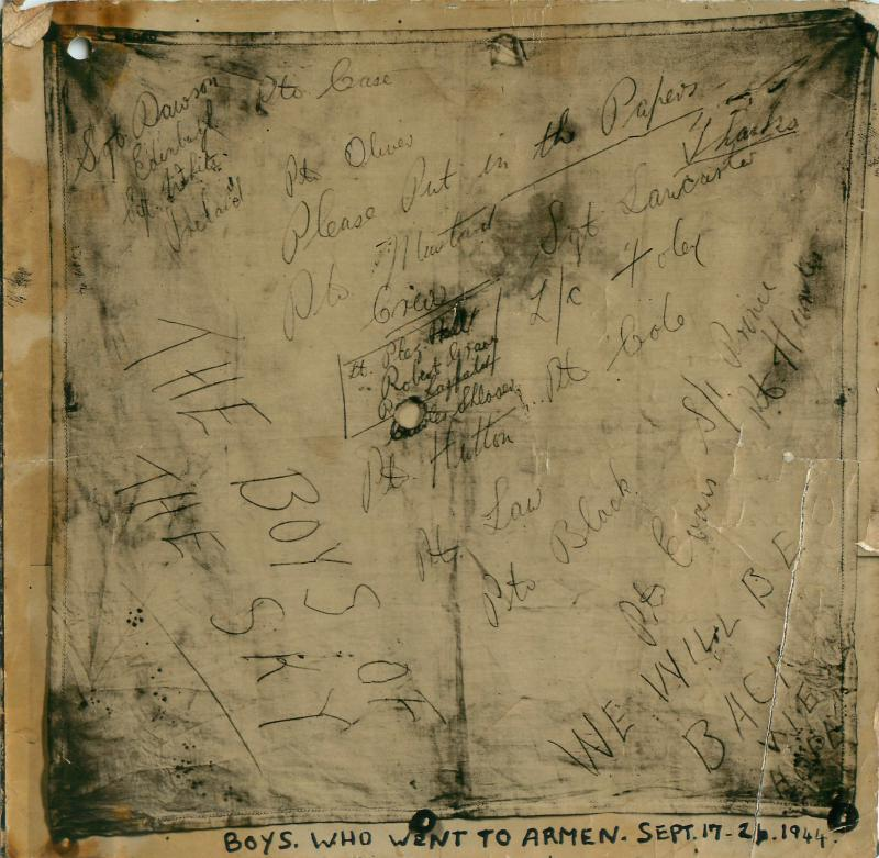 Some scribbled messages names by airborne soldiers who went to Arnhem.