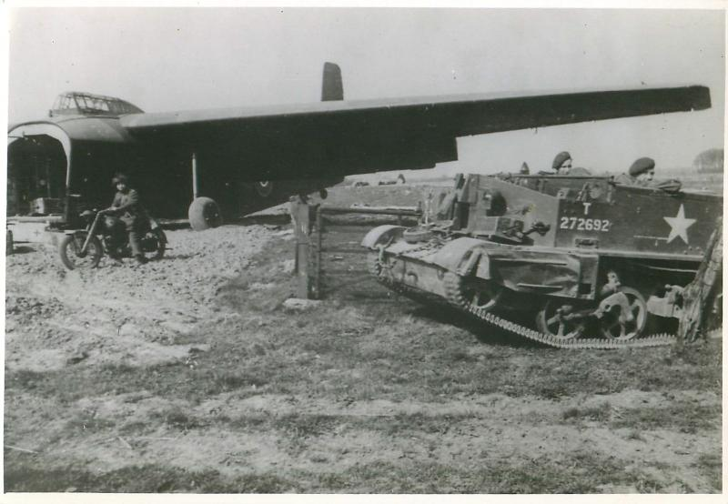 A Hamilcar glider, airborne motorcycle and tank on the Rhine Crossing landing zone.